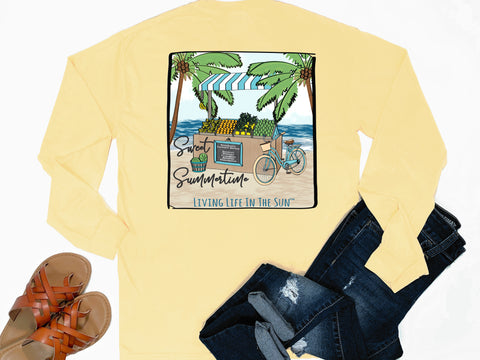 preppy graphic tees - long sleeve pocket tee - beach farmers market - sweet summertime - beach bike - comfort colors - yellow tee - vacation tshirt - living life in the sun