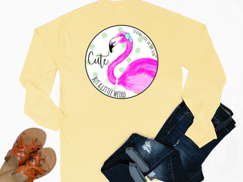 preppy graphic tees - long sleeve pocket tee - flamingo tshirt - cute but a little weird - comfort colors - yellow tee - vacation tshirt - living life in the sun