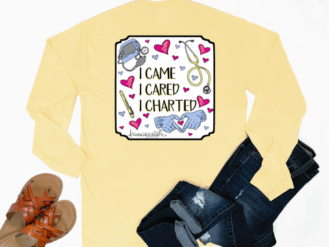 Southern Nurse Tees - Came Cared Charted - Shirts with Sayings - Living Life In Scrubs - Preppy RN T-Shirt - Cute LPN Clothes - Stethoscope Gloves PPE Top - Medical Nursing Student School Grad Gift - Comfort Colors Long Sleeve Pocket Tee - Simply a Yellow Graphic Tee