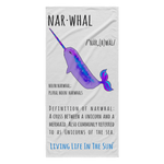 Living Life In The Sun - Unicorns Of The Sea Light Weight Beach Towel - Brightly painted narwhal graphic with dictionary lettering