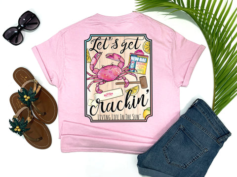 southern beach tees - let's get cracking - crab tshirt - crab boil tee - pink shirt - women beach clothes - living life in the sun