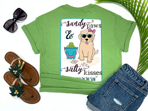 beach tees - sandy paws and salty kisses - puppy tee - preppy cute puppy dog wearing sunglasses and bow sitting on beach with bucket of tennis balls - green tshirt - florida fashion - living life in the sun