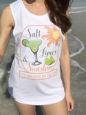 Salt Limes & Sunshine, Swim Cover Up, Tank, Margarita Tank, Beach Tank, Muscle Tank, Festival Tank, Limes, Tequila, Tank with Saying