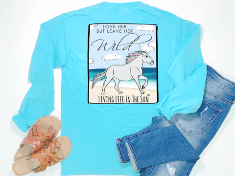 beach tees - long sleeve pocket tee - horse tee - love her leave her wild - comfort colors - blue tshirt - coastal vacation gifts - living life in the sun
