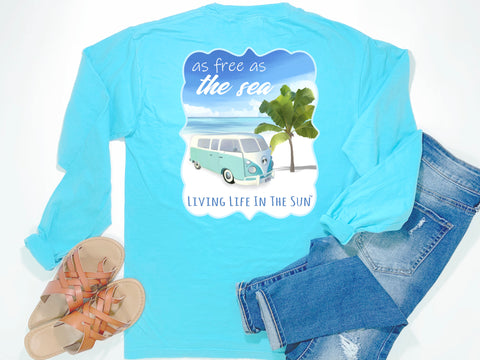 beach tees - long sleeve pocket tee - retro van tee - free as the sea - comfort colors - blue tshirt - coastal vacation gifts - living life in the sun