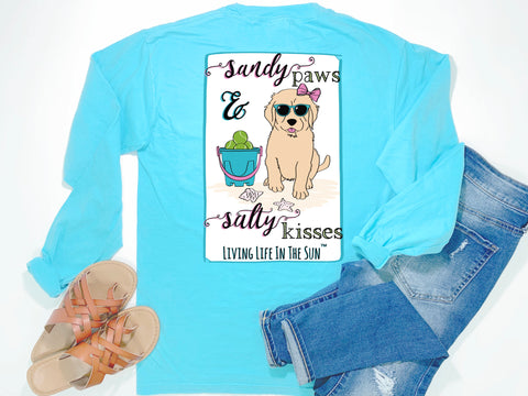 southern beach tees - long sleeve pocket tee - puppy dog tshirt - sandy paws salty kisses - comfort colors - blue shirt - women beach clothes - living life in the sun