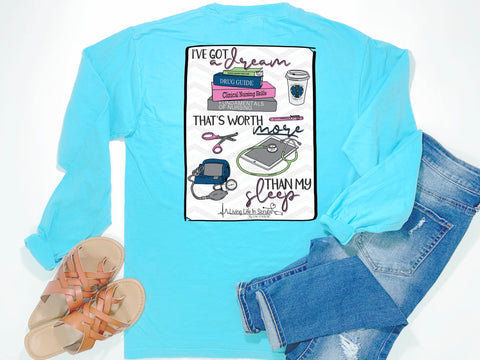 Southern Nurse Tees - Dream Worth More than Sleep - Shirts With Sayings - Living Life In Scrubs - Nursing Student School Grad Gift - Books Coffee Stethoscope Study T-Shirt - College BSN ADN RN LPN Top - Preppy Cute Women Clothes - Comfort Colors Long Sleeve Pocket Tee - Simply a blue graphic tee