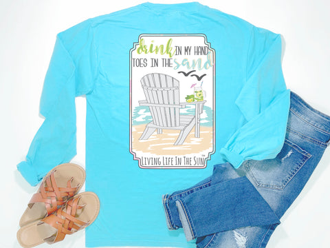 beach tees - long sleeve pocket tee - drink in hand toes in sand - Adirondack - comfort colors - blue tshirt - coastal vacation gifts - living life in the sun