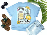 Simply Southern Style - when life hands you lemons make lemonade - summer cookout tee - lemonade in canning jar mug - blue t-shirt - coastal vacation gifts - living life in the sun