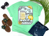 beach tees - when life gives you lemons make lemonade - summer tee - lemonade in canning jar mug - mint green tshirt - florida fashion - living life in the sun