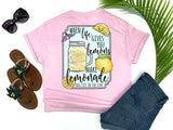 southern beach tees - when life hands you lemons make lemonade - lemonade in canning jar mug - lemon tee - pink shirt - women beach clothes - living life in the sun