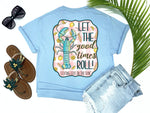 simply southern style - let the goodtimes roll - lobster shirt - lobster roll lemon tee - blue t-shirt - coastal vacation gifts - living life in the sun