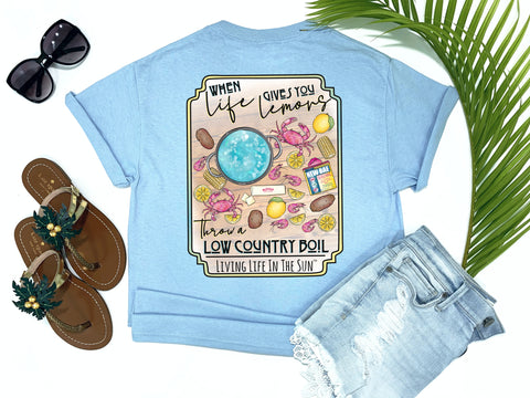 beach tees - when life hands you lemons throw a low country boil - crab tee - shrimp shirt - blue tshirt - florida fashion - living life in the sun