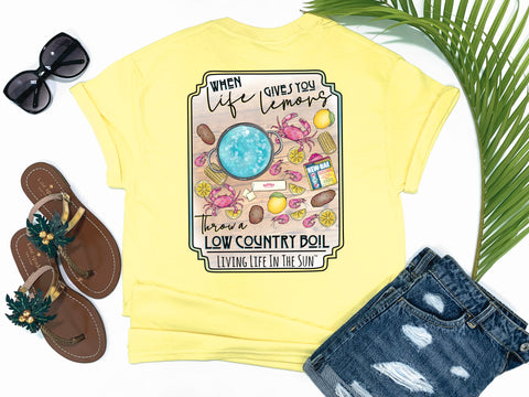 shirts with sayings - throw a low country boil - when life hands you lemons - shrimp shirt - crab tee - yellow t shirt - southern beach t shirt - living life in the sun