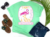 shirts with sayings - i don't give a flock - flamingo t-shirt - idgaf with pink flamingo leg as L on blue polkadot background - mint green t shirt - southern beach t shirt - living life in the sun