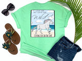 southern beach tees - love her but leave her wild - horse tshirt - rainbow horse running on sandy beach next to shore - mint green shirt - women beach clothes - living life in the sun