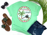 preppy graphic tees - throwing shade - palm tree t shirt - pink palm surrounded by tropical hibiscus on a preppy blue and white background with a sassy saying - mint green tee - vacation tshirt - living life in the sun