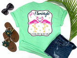 beach tees - let's flamingle - flamingo tee - preppy flirty love bird flamingos wearing a bowtie and pearls - mint green tshirt - florida fashion - living life in the sun