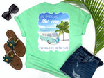 simply southern style - as free as the sea - retro vw van shirt - retro vw van beside palm tree on beach with waves - mint green t-shirt - coastal vacation gifts - living life in the sun
