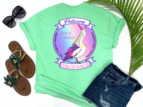 beach tees - never be ordinary - pelicorn tee - a pelican crossed with a unicorn makes a pelicorn with rainbow background - mint green tshirt - florida fashion - living life in the sun
