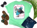 preppy graphic tees - surfer gull - seagull t shirt - seagull carrying a surf board wearing headphones and a hat - mint green tee - vacation tshirt - living life in the sun