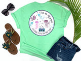 southern beach tees - this is my jam - jellyfish tshirt - jellyfish dancing to music from a retro 80's boombox - mint green shirt - women beach clothes - living life in the sun
