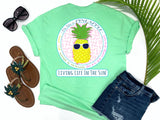 simply southern style - be like a pineapple stand tall wear a crown and be oh so very sweet - pineapple shirt - preppy pineapple wearing sunglasses - mint green t-shirt - coastal vacation gifts - living life in the sun