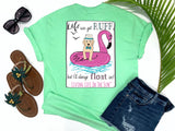 simply southern style - life can get ruff but i'll always float on - puppy dog shirt - dog wearing a fedora and bowtie while floating on flamingo with waves and seagulls - mint green t-shirt - coastal vacation gifts - living life in the sun