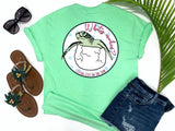preppy graphic tees - what's crackin' - sea turtle t shirt - baby sea turtle hatching from egg - mint green tee - vacation tshirt - living life in the sun