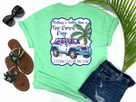 beach tees - nothing's better than a top down day - jeep tee - white jeep with pink and blue trim beside a pink palm with fishing poles -mint green tshirt - florida fashion - living life in the sun