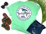 southern beach tees - respect the locals - shark tshirt - blacktip reef shark with sea turtle and stingray - mint green shirt - women beach clothes - living life in the sun