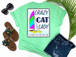 simply southern style - crazy cat lady - catamaran boat shirt - hobie cat sailing on nautical blue and white striped background - coastal vacation gifts - living life in the sun