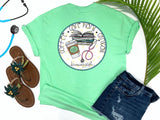 Southern Nurse Tees - Coffee Careplans Cinicals - Shirts With Sayings - Nursing student school T-Shirt - Stethoscope Books LPN RN Shirt - Cute Preppy Clothes - Living Life In Scrubs - Fun Medical Women Top - Simply a mint green Graphic Tee