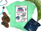 Southern Nurse Tees - Dream Worth More Than Sleep - Shirts With Sayings - Nursing Student T-Shirt - School Grad Gift - Stethoscope Coffee Books Shirt - Future RN LPN Top - Womens Clothes - Simply a Mint Green Graphic tee - living life in scrubs