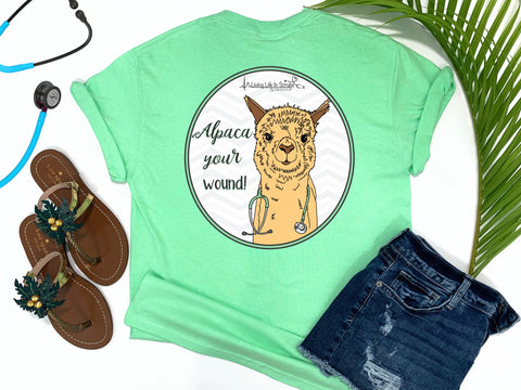 Southern Nurse Tees - Living Life In Scrubs - Alpaca Your Wound - Shirts With Sayings - LLAma T-Shirt - RN Comfort Wear - Preppy LPN Medical Top - Nursing Student Grad Gift - Cute Women Animal Shirt - Simply a Mint Green graphic Tee