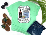 simply southern style - sweet and strong like a cup of southern tea - teacup and whiskey shirt - preppy cute teacup with whiskey bottle and sugar sack - mint green t-shirt - southern vacation gifts - living life in the sun