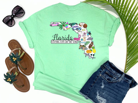 living life in the sun - beach tee - state of florida - preppy adorable cute beach shirt - sunshine state of mind - simply florida tee - southern state tee - jeep tee - surfing beach farmers market flamingo orange pineapple shark sea turtle tee - coconts tee - bright preppy tee - palm tree tee - coastal nautical top - graphic tee women