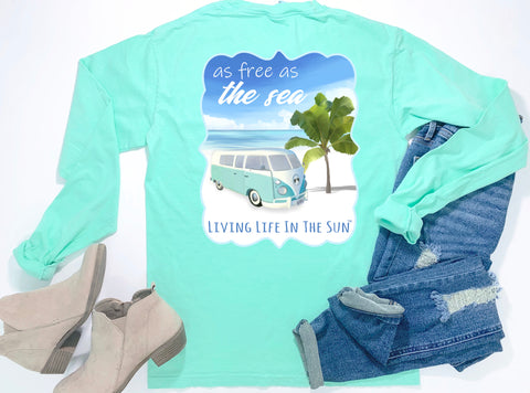 southern beach tees - long sleeve pocket tee - retro van tshirt - free as the sea - comfort colors - mint green shirt - women beach clothes - living life in the sun