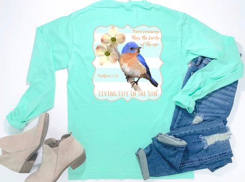 southern Jesus tees - long sleeve pocket tee - christian shirts - blue bird tshirt - matthew 6:26 - comfort colors - living life in the sun
