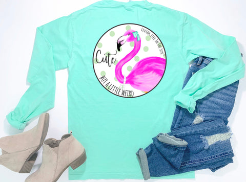 beach tees - long sleeve pocket tee - flamingo tee - cute but a little weird - comfort colors - mint green tshirt - coastal vacation gifts - living life in the sun