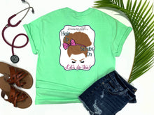nurse tee, living life in scrubs, nurse life, let's do this, messy bun, hair up scrubs on, scrub life, simply southern, southern tee, preppy tee, glam tee, eyelashes tee, living life in the sun, shirt with saying, graphic tee