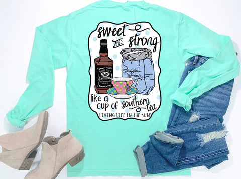 southern tees - long sleeve pocket tee - tennessee whiskey and teacup tee - sweet and strong like a cup of southern tea - comfort colors - living life in the sun