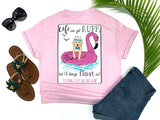 southern beach tees - life can get ruff but i'll always float on - puppy dog tshirt - dog wearing fedora and bow tie while floating on flamingo with waves and seagulls - pink shirt - women beach clothes - living life in the sun