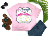 southern beach tees - let's flamingle - flamingo t shirt - preppy flirty love bird flamingos wearing a bowtie and pearls - pink shirt - women beach clothes - living life in the sun
