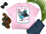 beach tees - surfer gull - seagull tee - seagull carrying a surf board wearing headphones and a hat - pink tshirt - florida fashion - california girl - living life in the sun