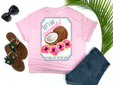 beach tees - let's go coconuts - coconut hibiscus tee - preppy coconuts with pink and yellow hawaiian hibiscus flowers - pink tshirt - florida fashion - living life in the sun