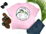 simply southern style - what's crackin' - sea turtle shirt - baby sea turtle hatching from egg - pink t-shirt - coastal vacation gifts - living life in the sun