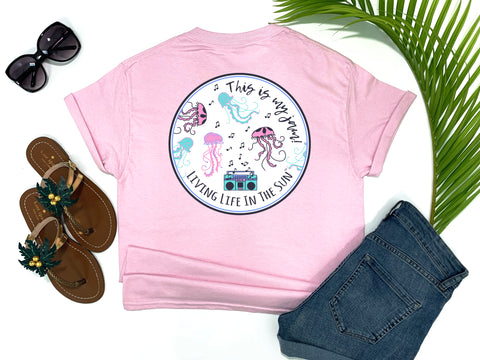 beach tees - this is my jam - jellyfish tee - jellyfish dancing to music from a retro 80's boombox - pink tshirt - florida fashion - living life in the sun