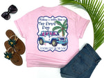 southern beach tees - nothing's better than a top down day - jeep tshirt - white jeep with pink and blue trim beside a pink palm with fishing poles - pink shirt - women beach clothes - living life in the sun