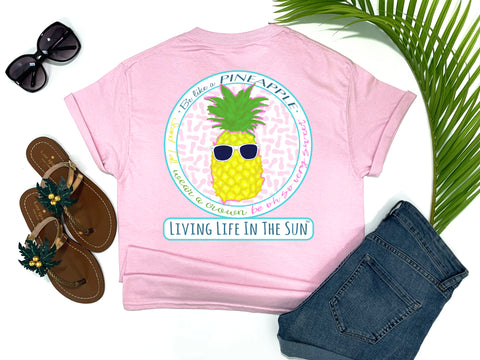 beach tees - be like a pineapple stand tall wear a crown be sweet on the inside - pineapple tee - preppy pineapple wearing sunglasses with pink accents - pink tshirt - florida fashion - living life in the sun